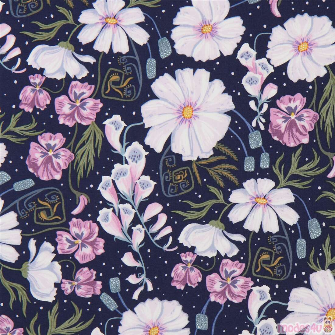 Dear Stella Navy Blue Fabric With Purple And Light Pink Flowers