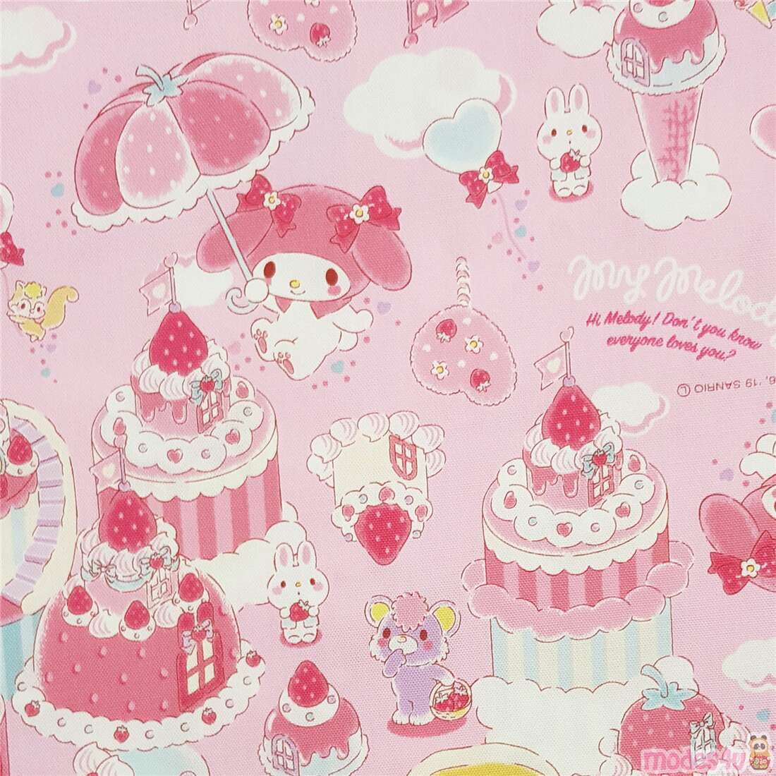 My Melody Dessert Town Laminate Fabric In Pink Modes4u