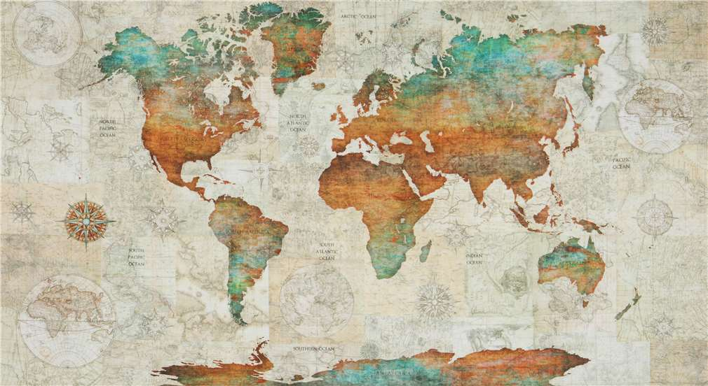 Quilting Treasures vintage world map panel fabric