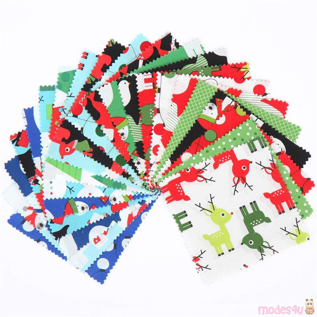 """CHRISTMAS 100/% COTTON FABRIC 60 5/"""" PATCHWORK CHARM PACK SQUARE CRAFT REMNANTS"""
