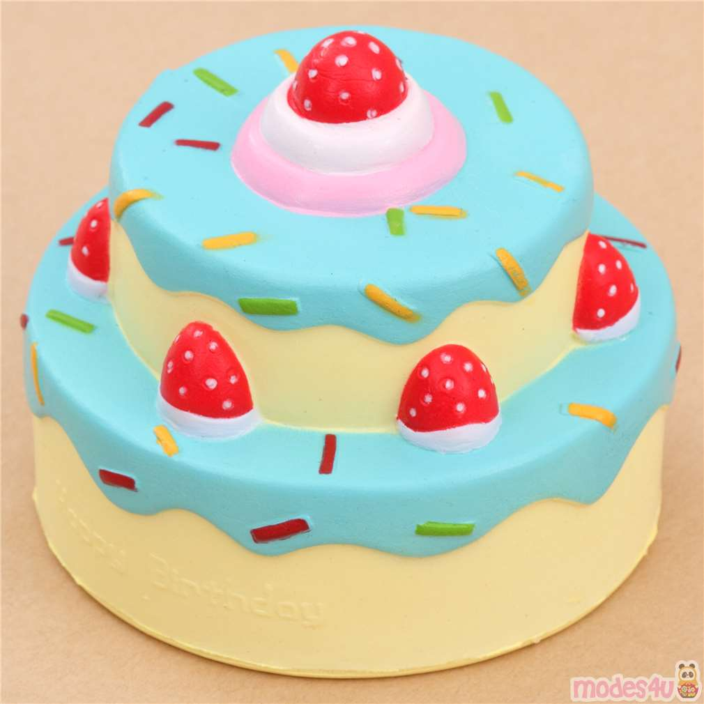 Vlampo Cute Happy Birthday Cake Blue Icing Squishy Kawaii