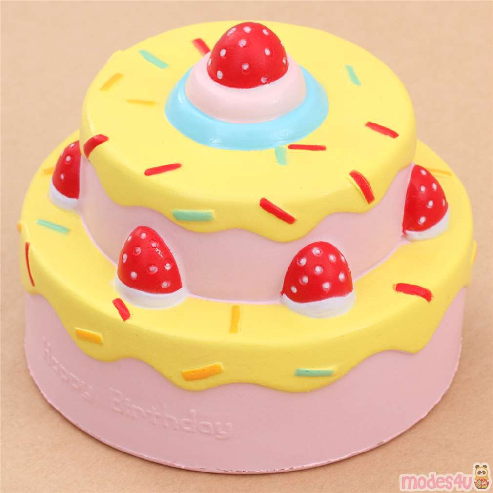 Terrific Vlampo Cute Happy Birthday Cake Yellow Icing Squishy Kawaii Modes4U Funny Birthday Cards Online Overcheapnameinfo