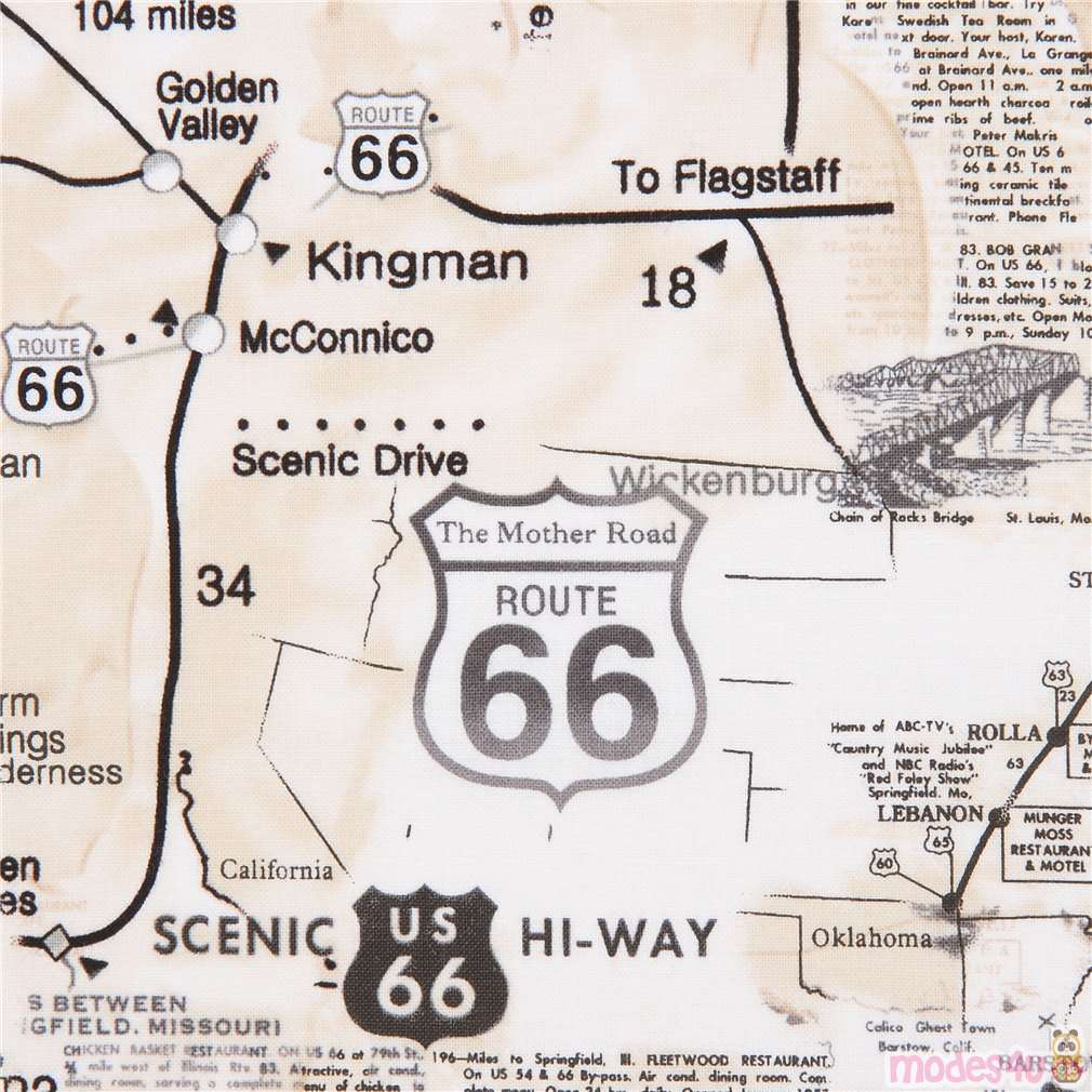 Map Of California Route 66.Beige Map Route 66 Sign Text Fabric By Timeless Treasures