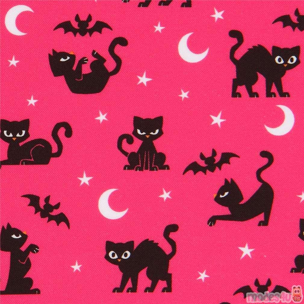 Black Cat Halloween Fabric In Hot Pink By Robert Kaufman