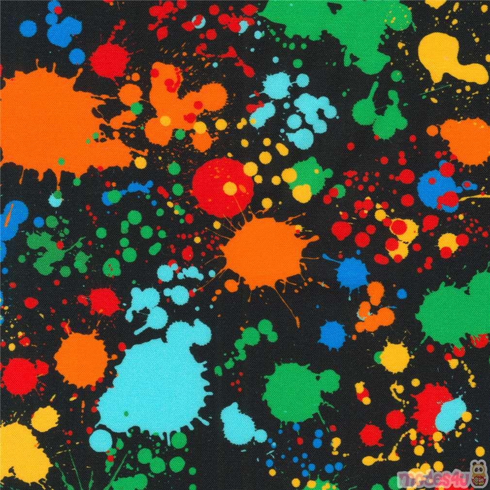 Black Paint Splatter Fabric By Robert Kaufman Modes4u