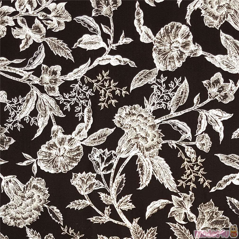 Black Vintage Flower Pattern Fabric By Timeless Treasures Modes4u