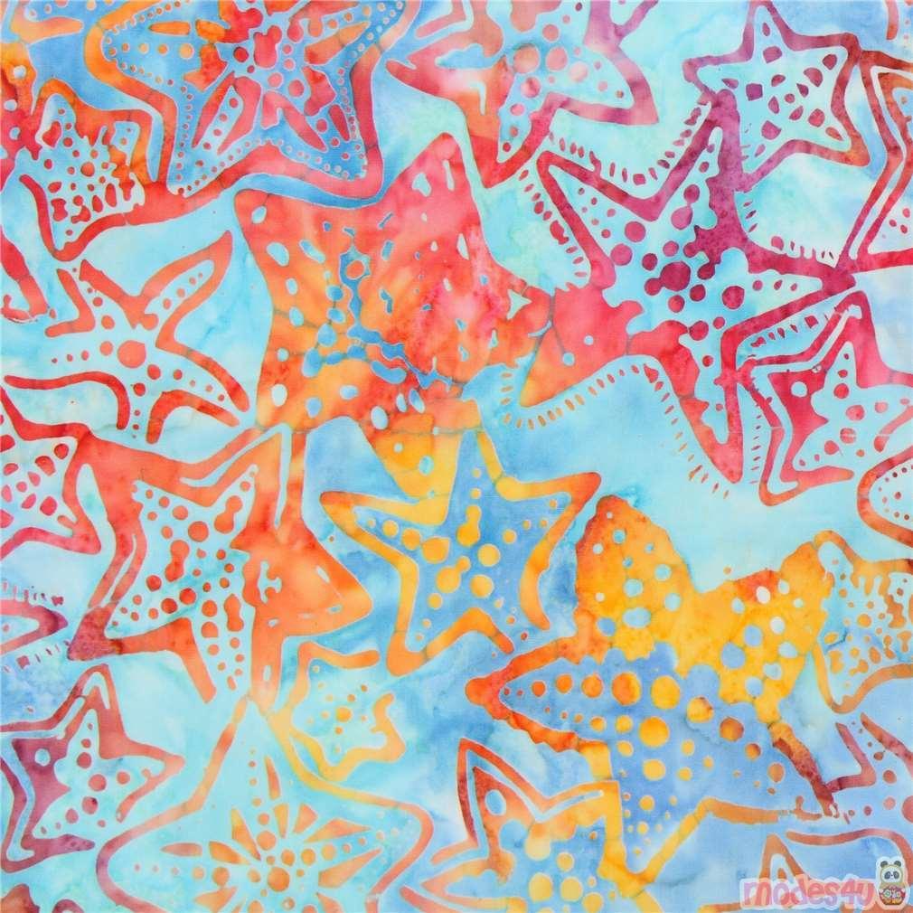 Light Blue Robert Kaufman Starfish Tie Dye Batik Look