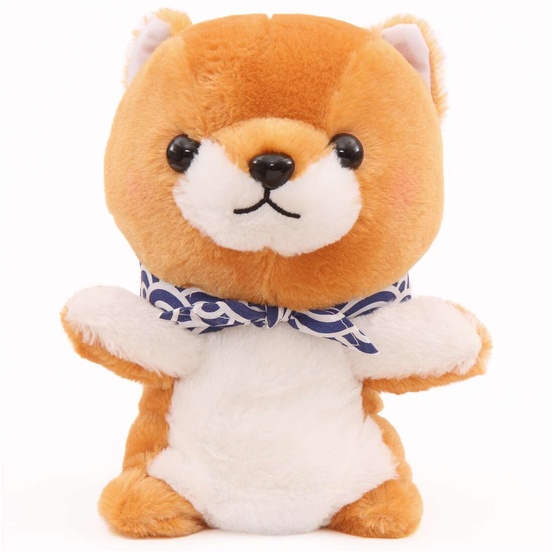 Brown White Dog Mameshiba San Kyodai Hand Puppet Plush Toy From