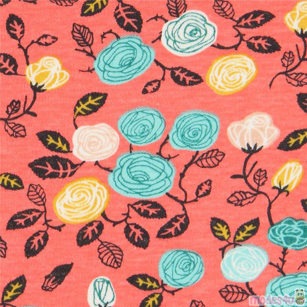 coral with cute rose flower birch knit organic fabric USA