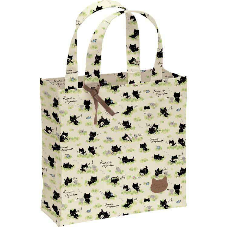 Cream Cat Clover Tote Bag From An