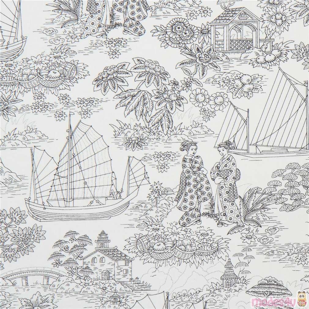 Black Flower Fabric Timeless Treasures Tree Of Life: Cream Fabric With Black Flower Boat Tree People Timeless