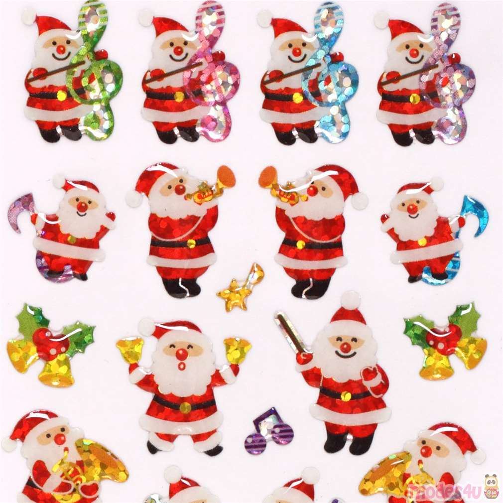 Cute Christmas.Cute Christmas Santa Claus Music Band Glitter Stickers From Japan