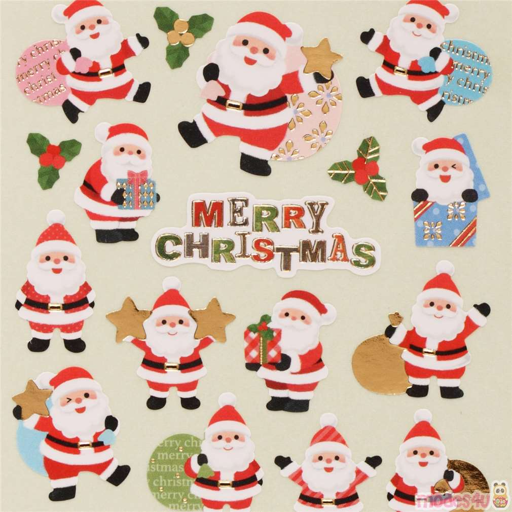 Christmas Stickers.Cute Christmas Mistletoe Gift Stickers With Gold Metallic From Japan