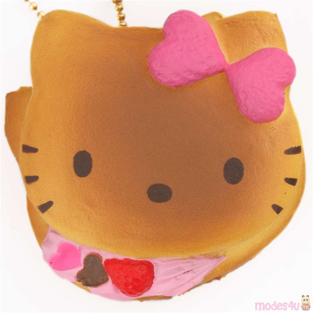 light Pink Bow Hello Kitty Waffle Squishy Cell Phone Charm Squishies
