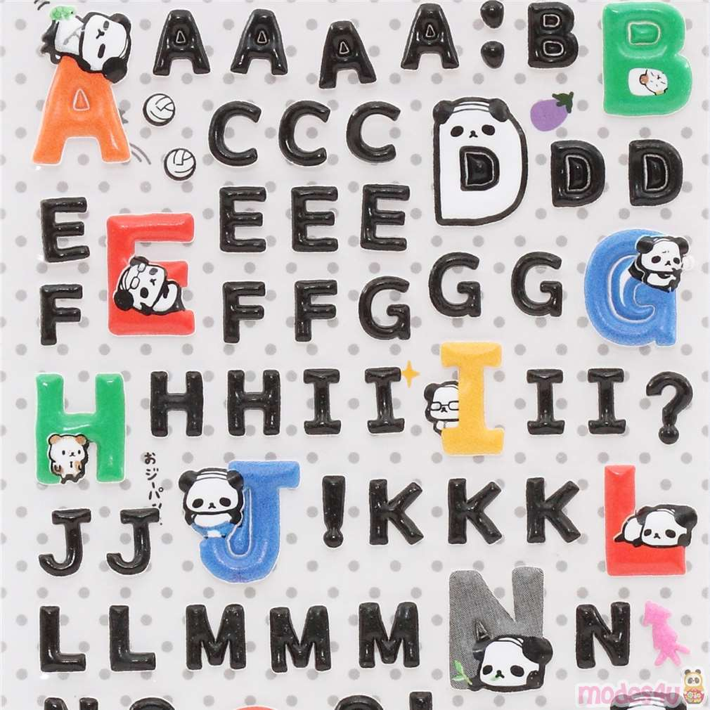 Cute Ojipan Panda Alphabet Puffy 3D Sponge Stickers From