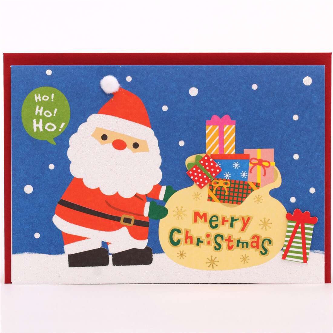 Merry Christmas Letter Y.Cute Santa Claus Christmas Bobble Hat Glitter Letter Postcard From Japan