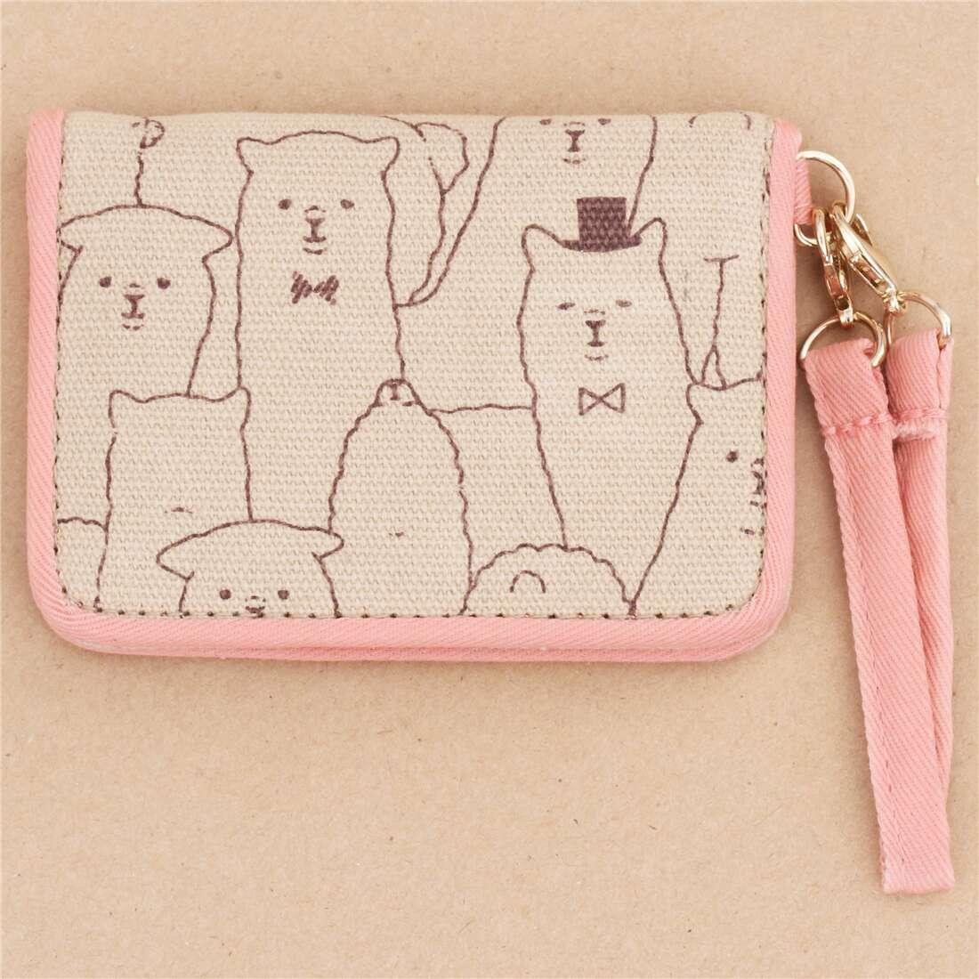 cute brown pink alpaca card holder case wallet from Japan 207748 1