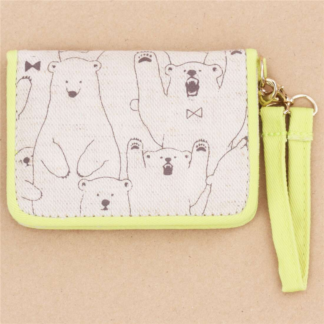 cute brown yellow bear card holder case wallet from Japan 207749 2