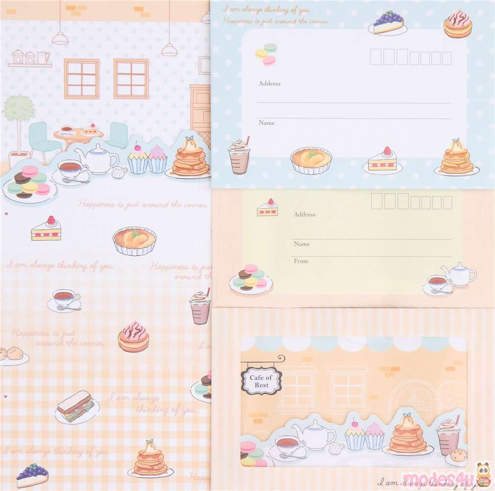 cute cafe food windowed envelope Letter Paper Set by Crux from Japan