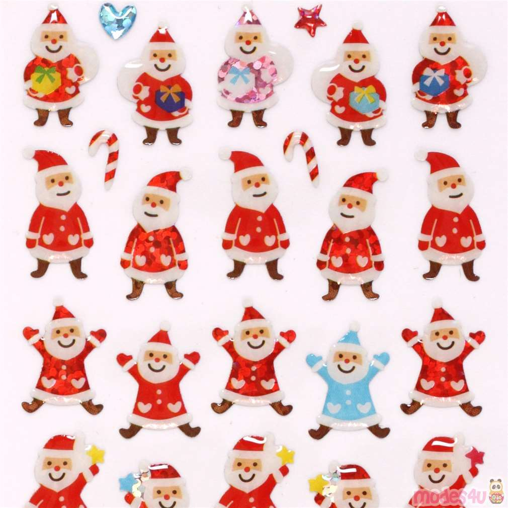 Colorful Christmas.Cute Colorful Christmas Santa Claus Glitter Stickers From Japan