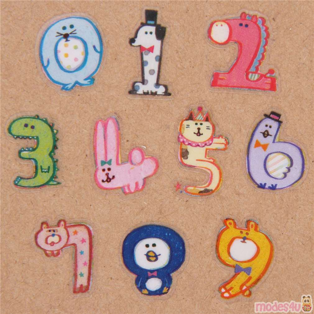 Cute colorful animal as number sticker sack by q lia modes4u