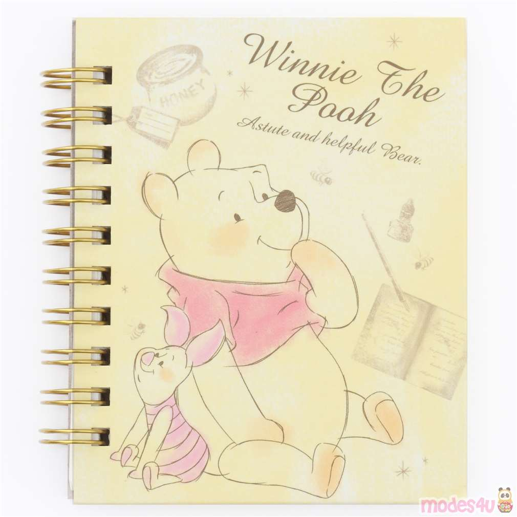 Cute Small Yellow Ring Binder Notebook With Winnie The