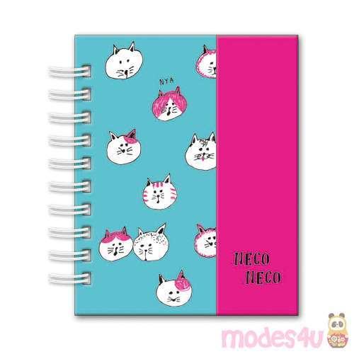 Cute Turquoise Pink Cat Animal Mini Ring Binder Notebook