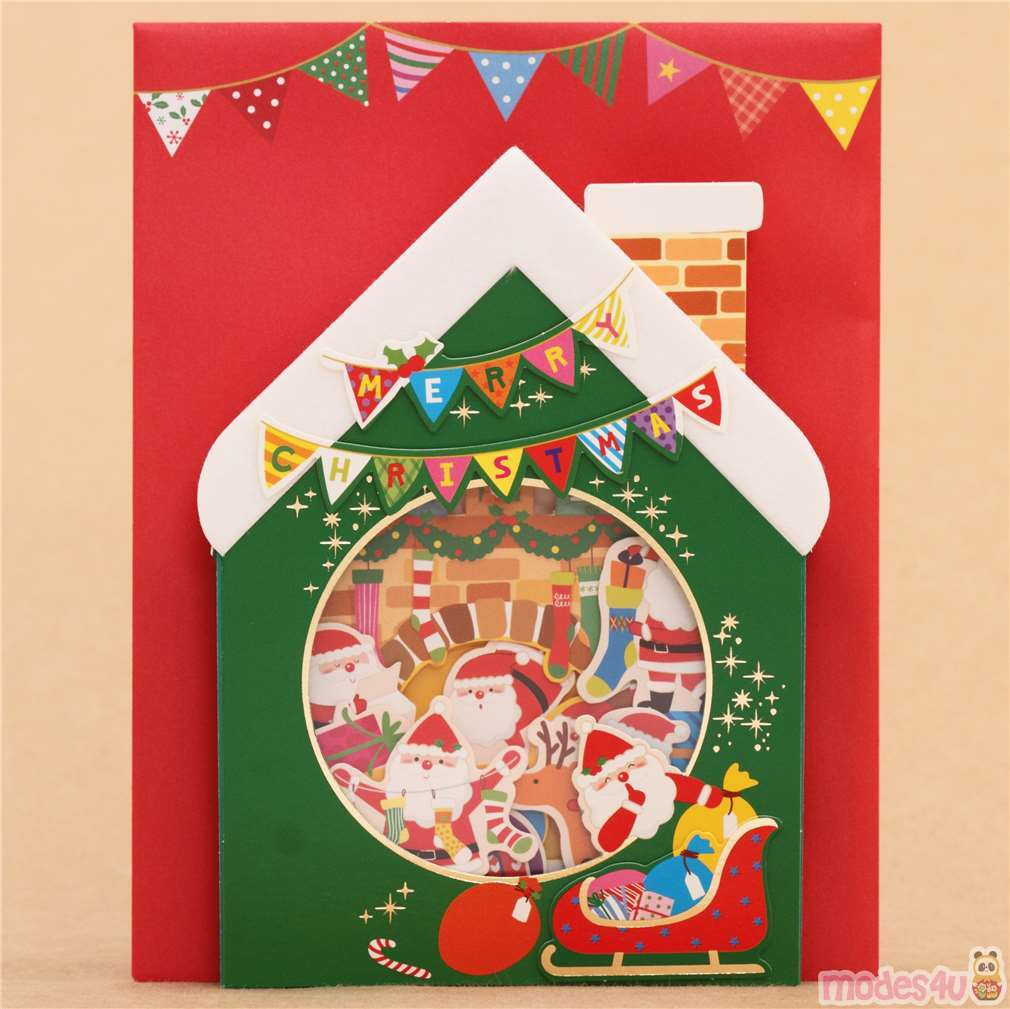 Christmas Pop Up Cards.Cute Winter House Fireplace Socks Christmas Letter 3d Pop Up Card From Japan