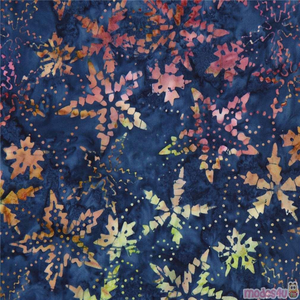 Dark Blue Batik Colorful Flower Design Fabric By Timeless