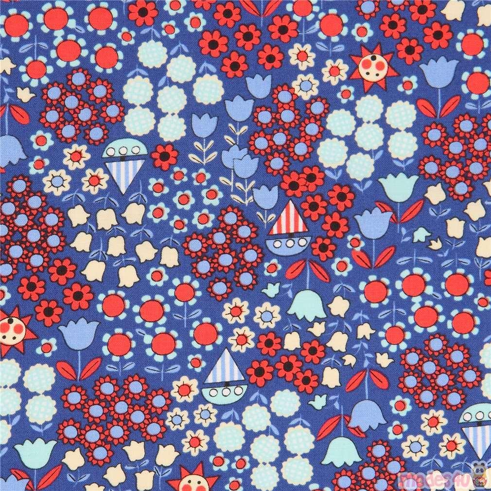 Dark Blue With Red Light Flower Fabric From An Kawaii Modes4u