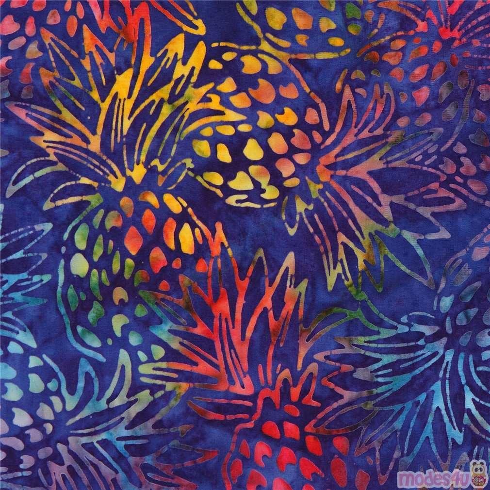 Dark Purple Robert Kaufman Pineapple Tie Dye Batik Look
