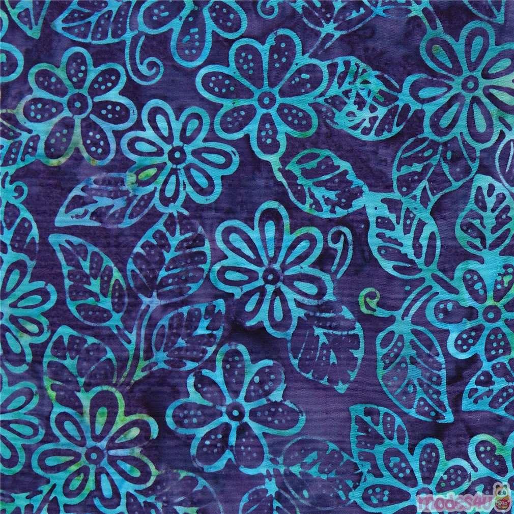 Dark Purple Batik Small Flower Design Fabric By Timeless