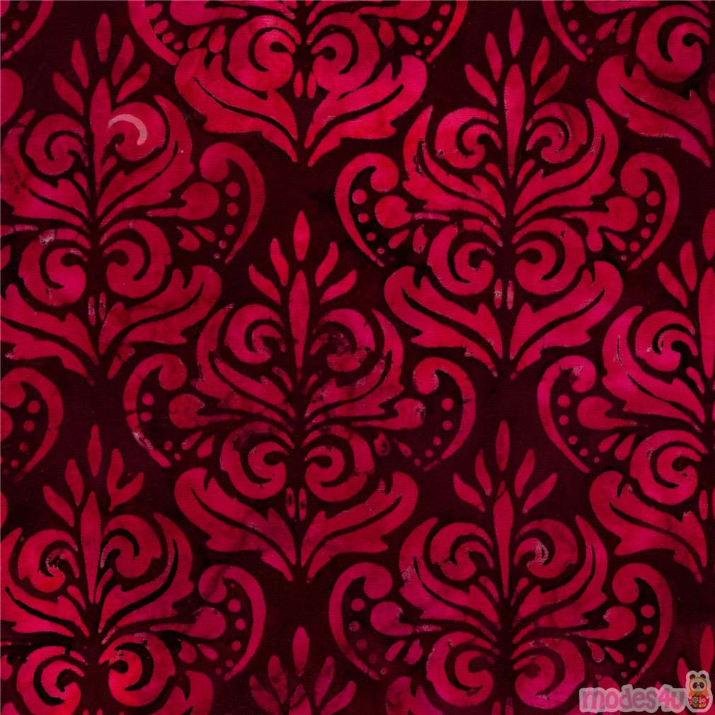 Dark Red Robert Kaufman Batik Fabric With Ornament Leaf