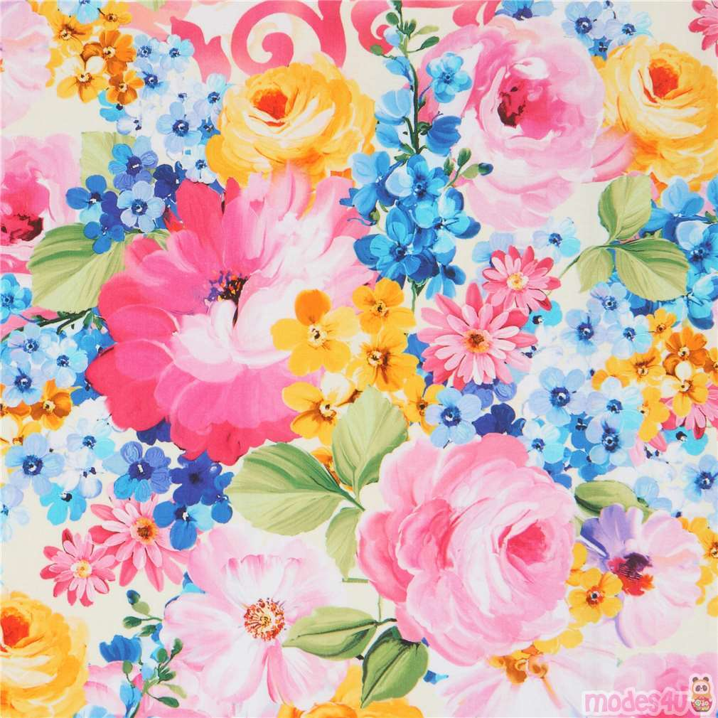 Digital Print Michael Miller Colorful Flower Fabric Modes4u