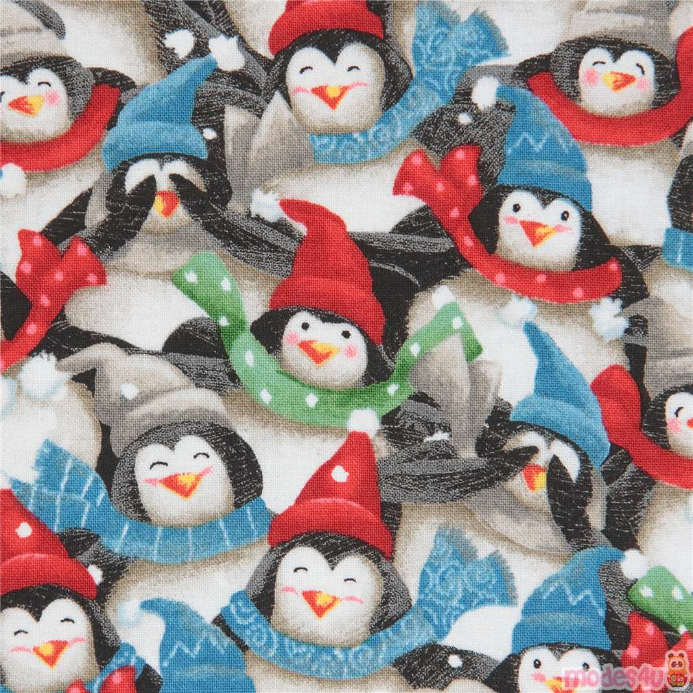 2c884a3c217 fabric with penguin bird animal Christmas Quilting Treasures - modeS4u