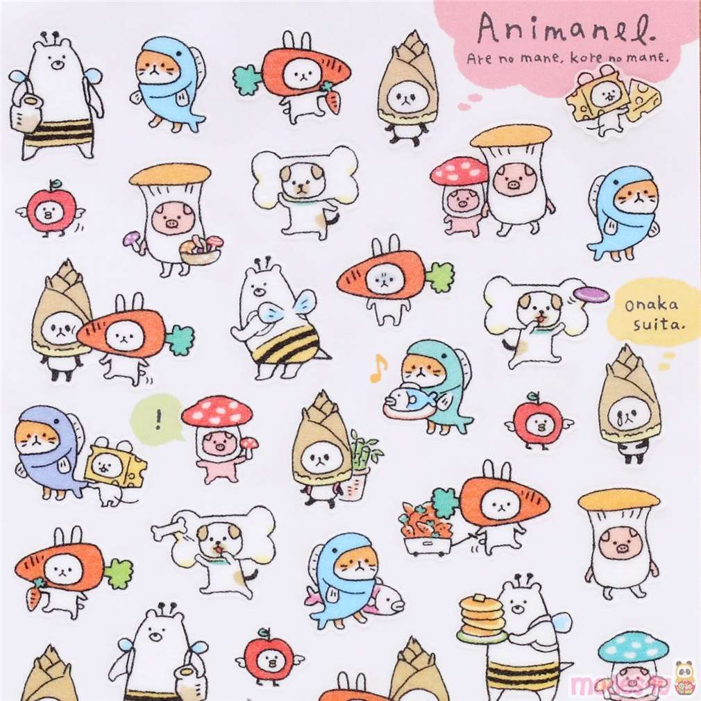 Image of: Clipart Funny Animal Food Outfit Semi Transparent Tape Stickers By Mind Wave Modes4u Kawaii Shop Modes4u Funny Animal Food Outfit Semi Transparent Tape Stickers By Mind Wave