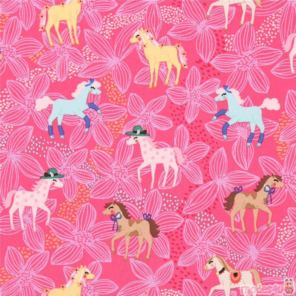 Hot Pink Cute Flower Colorful Horse Pony Michael Miller Fabric Pretty Ponies Modes4u Kawaii