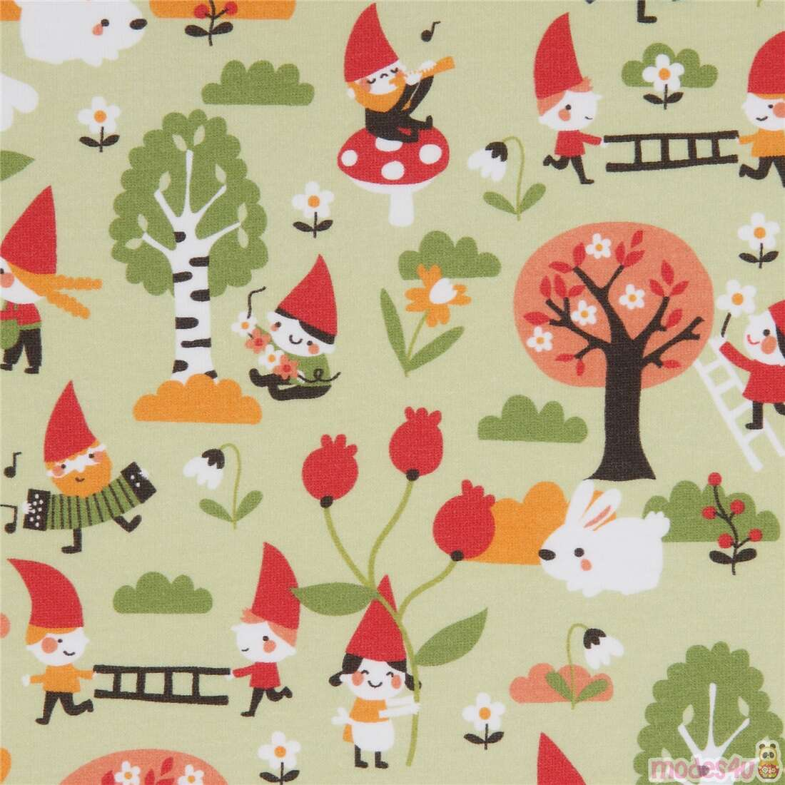 light green organic jersey knit fabric with small garden gnomes by Lillestoff 232630 1