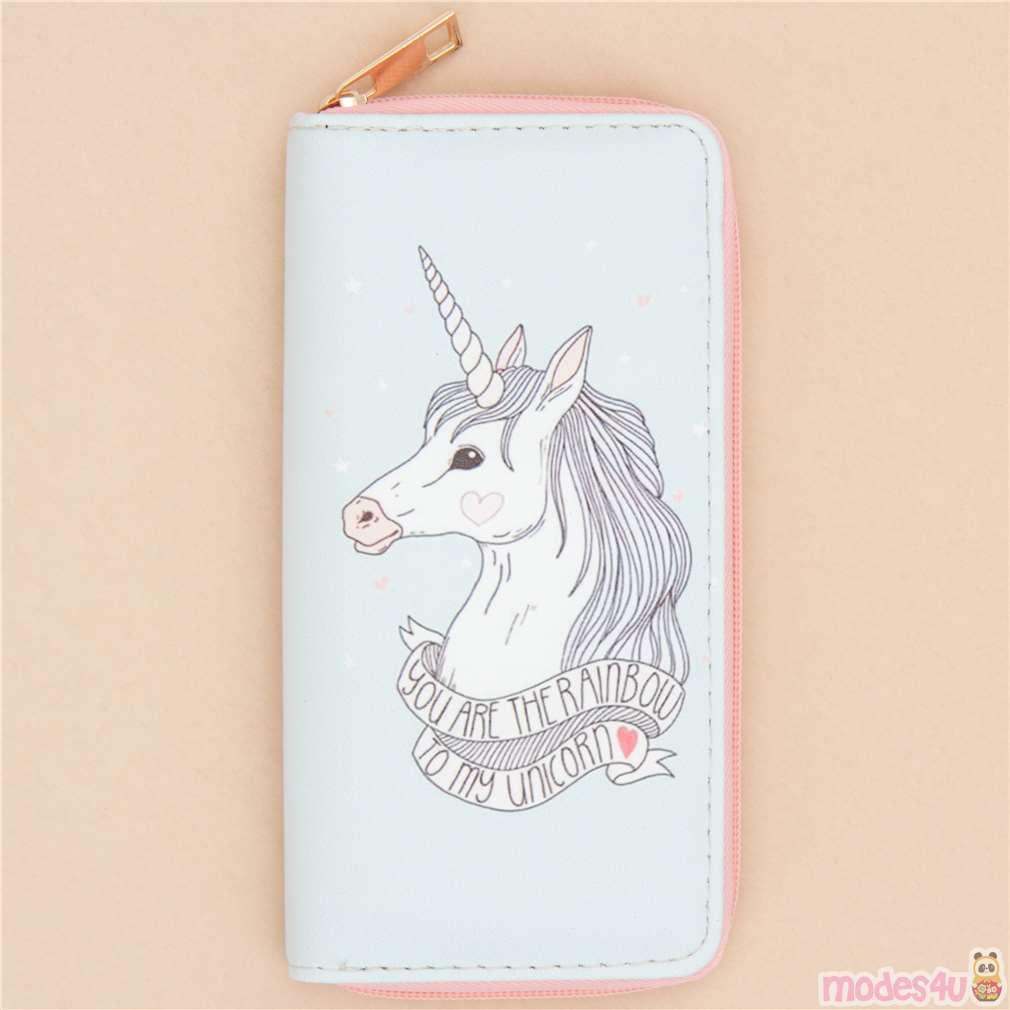 Light turquoise unicorn wallet modes4u