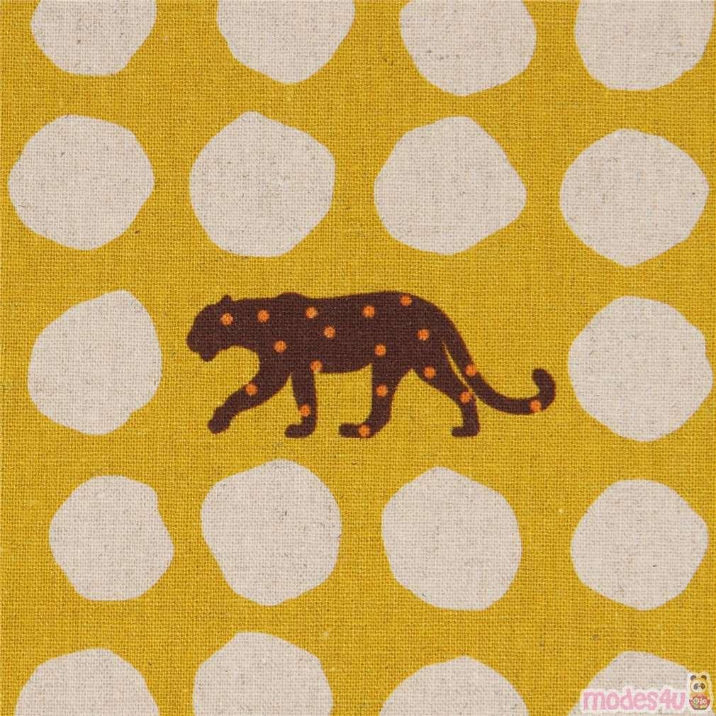 mustard yellow leopard echino laminate canvas fabric with dots