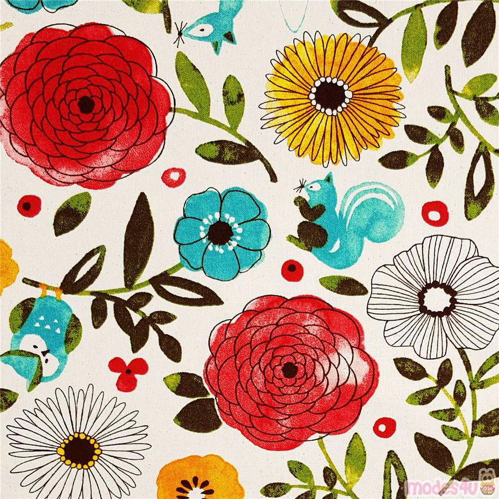 Sale  100/% Cotton Fabric Owls /& Flowers /& Leaves