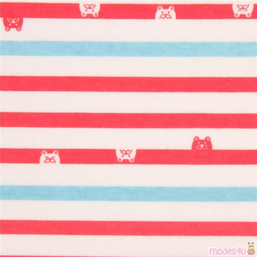 Off White Red Light Blue Stripe Bear Face Knit Fabric Modes4u Kawaii