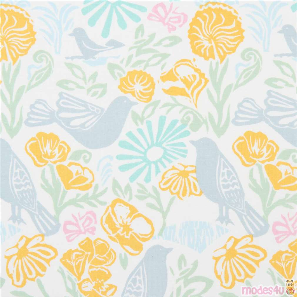 Grey teal blue yellow birds flowers leaves craft remnant fabric material piece