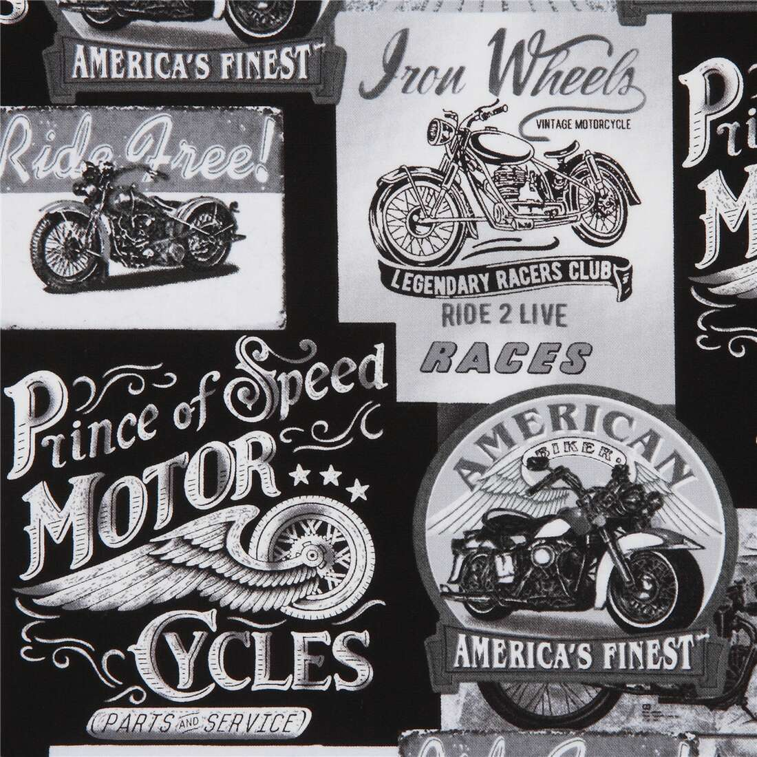 Packed Vintage Motorcycle Signs Fabric