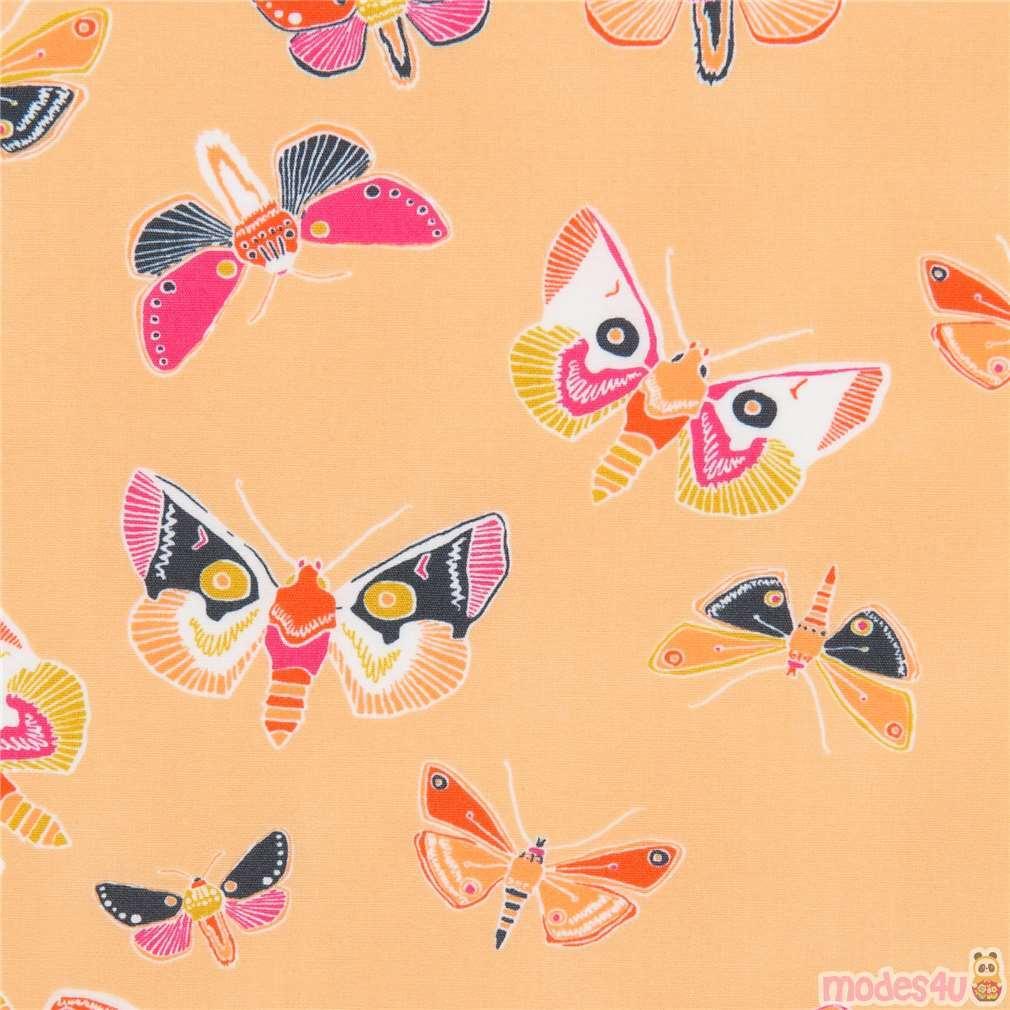 Cotton Quilting Fabric  50cm x 55cm On Peach Fat Quarter Butterflies