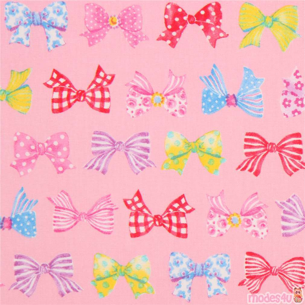 Pink Fabric Cute Colorful Blue Green Purple Bow From Japan