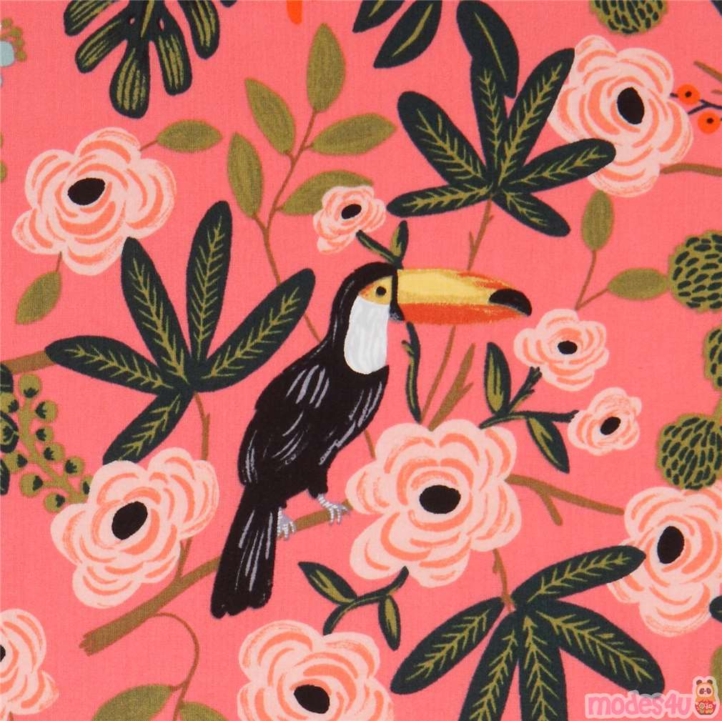 Coral Fabric With Parrot Toucan Bird Flower Lawn Fabric By