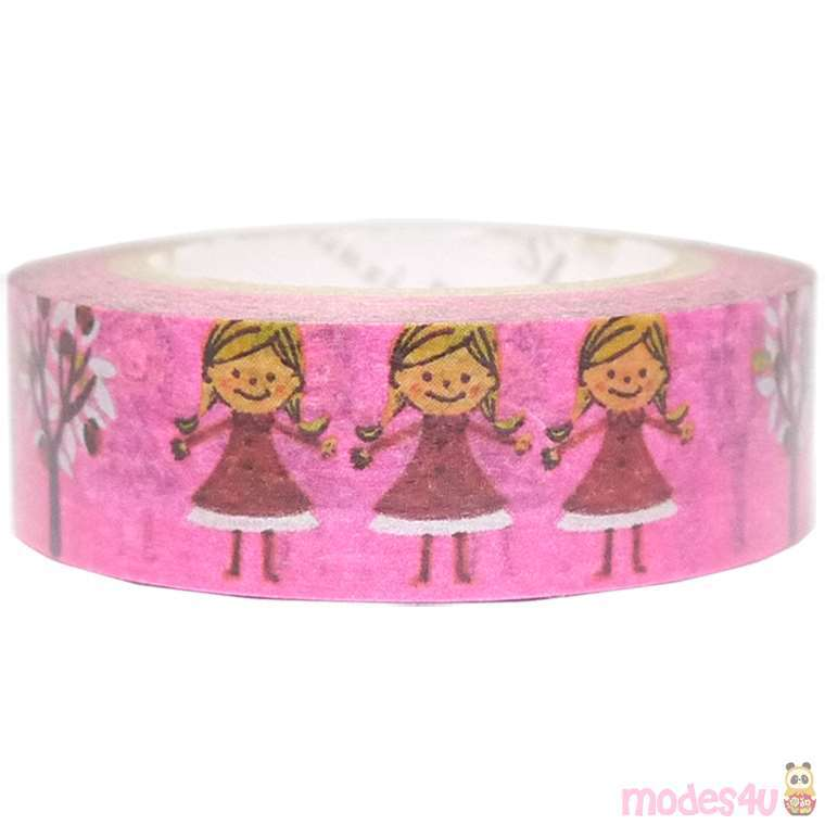Nastro adesivo rosa bambine alberi decorazioni argentate shinzi katoh washi tape nastri - Nastri decorativi natalizi ...