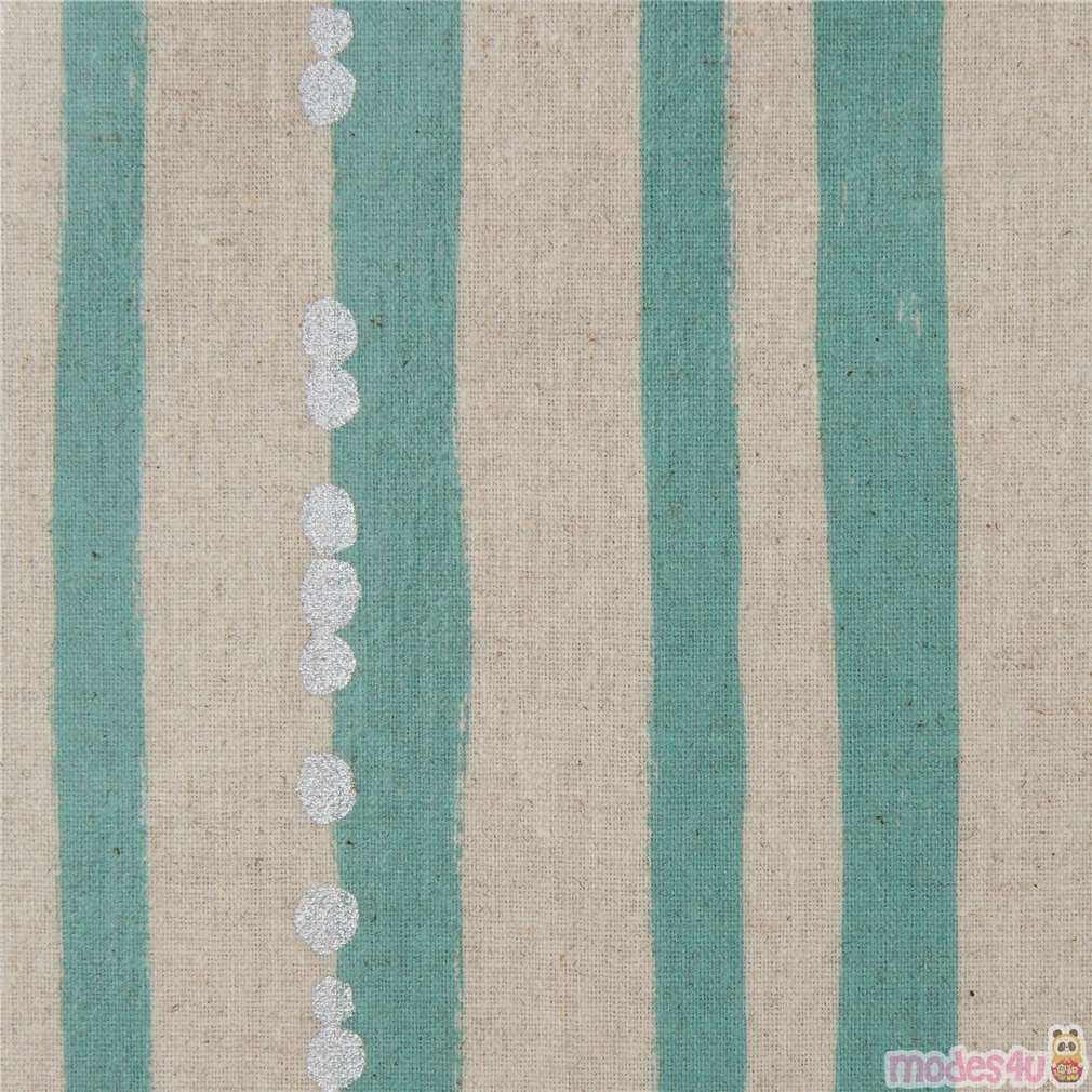 Silver Metallic Natural Color Sea Green Echino Canvas Laminate Fabric Stripe Waterproof Kawaii Modes4u