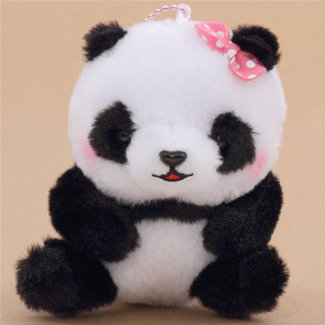 Small Black White Panda With Pink Bow With Chain Squeaky Plush Toy